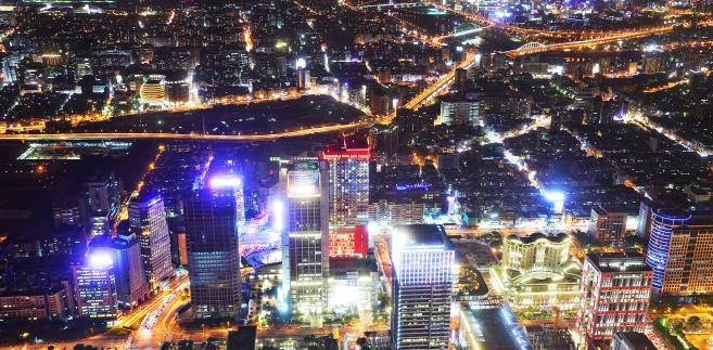 Taipei, Tajwan - miasto nocą