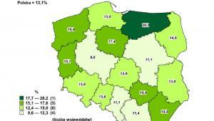 Stopa bezrobocia rejestrowanego w Polsce - lipiec 2013, źródło: GUS