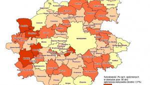 Szkodowość kredytów mieszkaniowych - aglomeracja warszawska, źródło: BIK