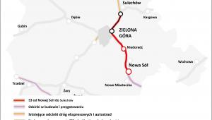 mapa dróg woj. lubuskie - droga ekspresowa S3