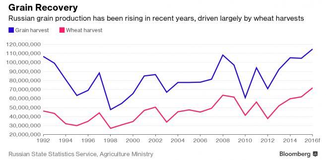 Poziom produkcji zbóż i pszenicy w Rosji
