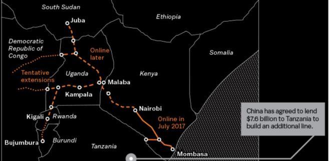 Proponowany przebieg trasy kolejowej Standard Gauge Railway we wschodniej Afryce