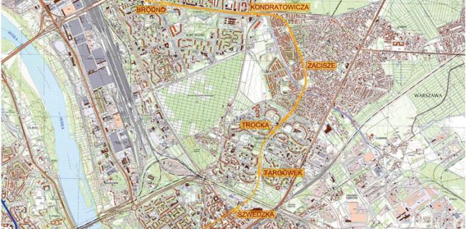 Planowana lokalizacja rozbudowywanej II linii metra po stronie wschodniej