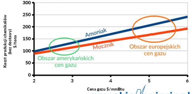 Koszt produkcji chemikaliów a cena gazu