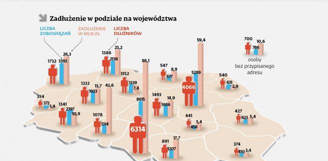Zadłużenie z podziałem na województwa