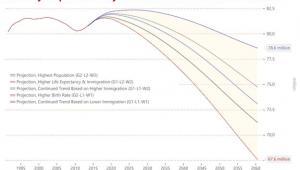 Projekcje demograficzne dla Niemiec w zależności od dzietności i poziomu imigracji. Źrodło: niemiecki urząd statystyczny