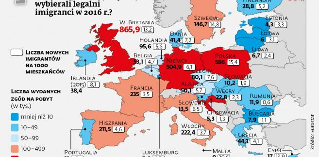 Które kraje UE najchętniej wybierali legalni imigranci w 2016 r.