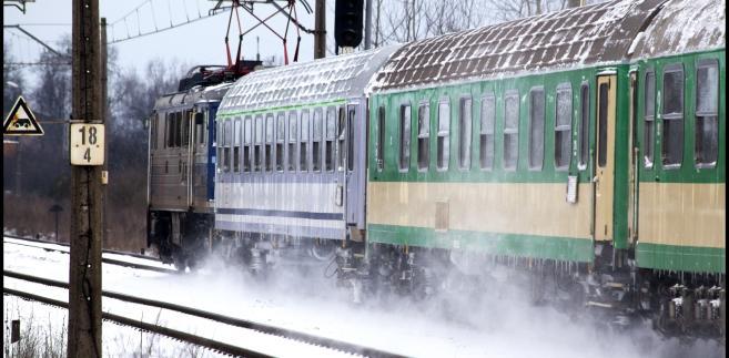 pociąg, zima, kolej, mróz