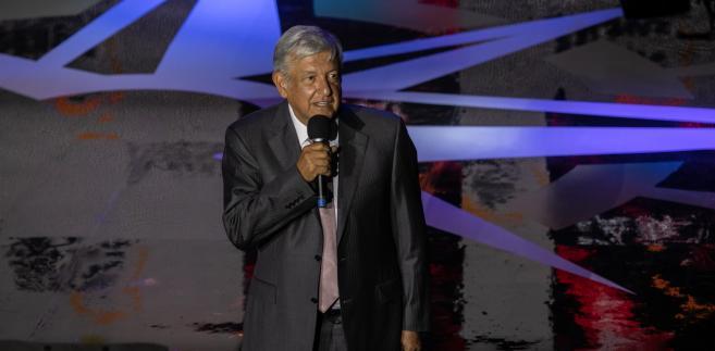 Andres Manuel Lopez Obrador w czasie przemówienia w Mexico City, Meksyk, 28.05.2018