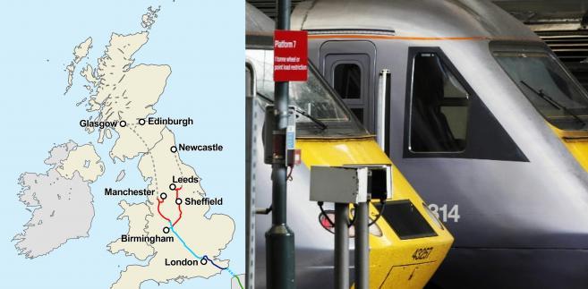 Plan brytyjskiej sieci szybkiej kolei. Na granatowo – projekt High Speed 1 (HS1), na niebiesko – projekt High Speed 2 (HS2) faza pierwsza, na czerwono projekt High Speed 2 (HS2) faza druga, na szaro – kolejne fazy rozbudowy sieci, na zielono – linia francuska TGV.  Źródło: mapa: Wikipedia, Creative Commons Attribution-Share Alike 3.0 Unported, autor:  Cnbrb, zdjęcie: Bloomberg.