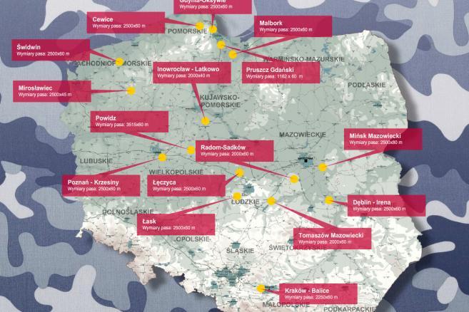 Największe lotniska wojskowe w Polsce Źródło: lotniska.dlapilota.pl