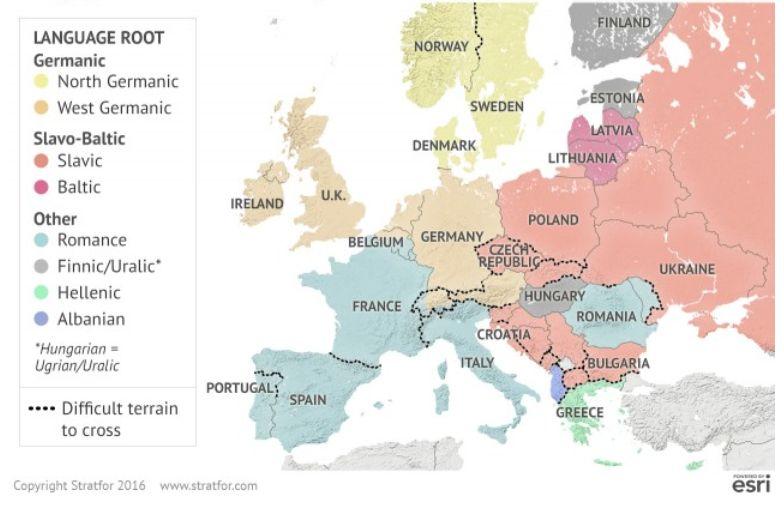 Podziały kulturowe i geograficzne w Europie. Europa była przez dwa tysiąclecia polem bitwy różnych narodów i plemion, ale bariery geograficzne w istotny sposób ukształtowały podziały kulturowe. Jest to widoczne w rozkładzie różnych języków w Europie. MAPA: Różnymi kolorami oznaczono poszczególne grupy językowe w Europie. Czarne kropki na mapie oznaczają geograficznie trudy do przebycia teren. Źródło: Stratfor