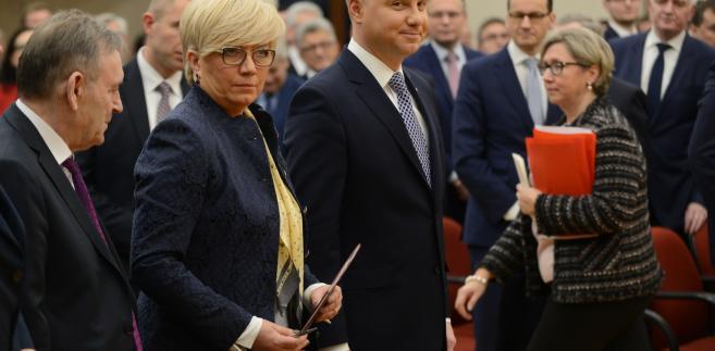 Prezydent Andrzej Duda i prezes TK Julia Przyłębska podczas uroczystego posiedzenia Zgromadzenia Ogólnego Sędziów Trybunału Konstytucyjnego.