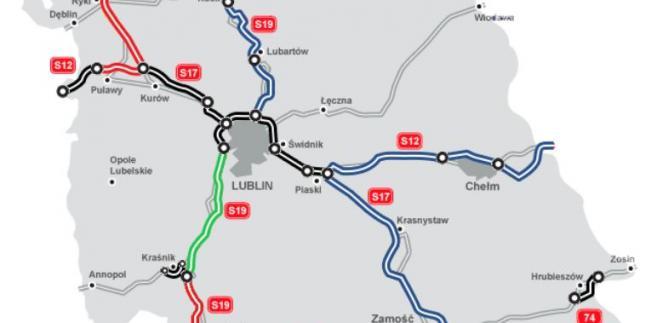 Fragment trasy S19 pomiędzy Lublinem a Kraśnikiem (na zielono). Źródło: GDDKiA