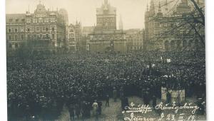 Protest niemieckich mieszkańców Gdańska przeciwko postanowieniom traktatu wersalskiego, 23 marca 1919 r. fot. AAN