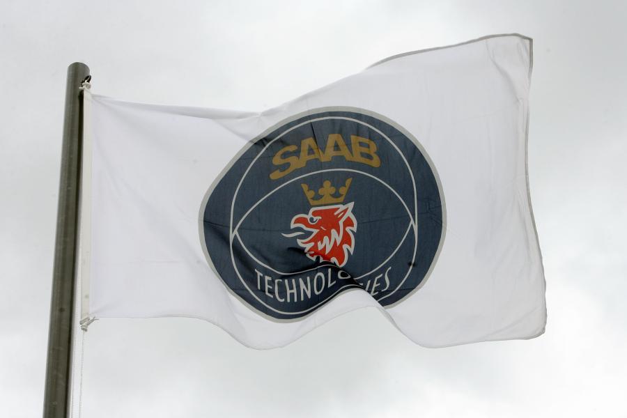 Logo koncernu SAAB. fot. Bloomberg