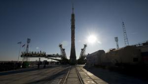 Rakieta Sojuz na kosmodromie Bajkonur w Kazachstanie, Bill Ingalls/NASA via Bloomberg News