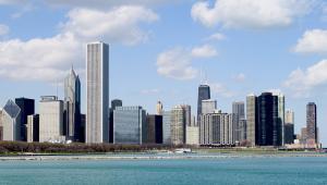 Aon Center, trzeci najwyższy wieżowiec w Chicago, znajduje się w dzielnicy zwanej The Loop, na terenie której znajduje się główne centrum finansowe miasta.