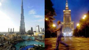 Pałac Kultury i Nauki w Warszawie oraz najwyższy wieżowiec świata Burj Khalifa w Dubaju.